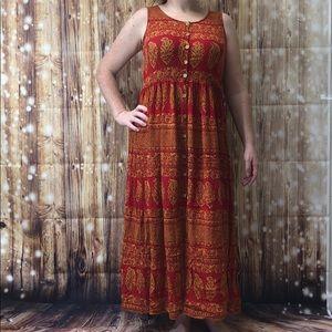 JASMINE vintage orange red button front maxi dress